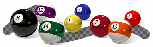 18 pool ball icons that s 15 balls a cue ball and a green folder with