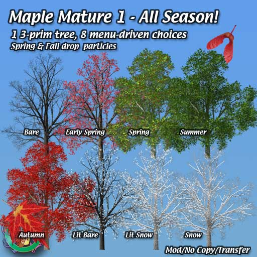 Mature Maple Trees Landscaping For Second Life C Robin Wood 2009