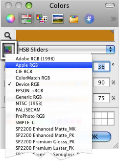 choosing 'Device RGB' from the Apple Color Picker swatch dropdown